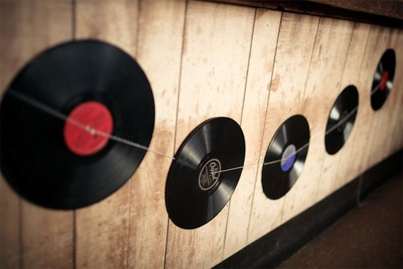 DIY record decorations. these can be strung along the curtians or ...