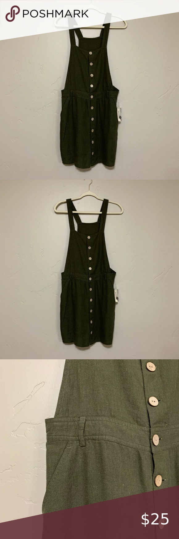 Nwt Garage Green Overall Dress Size Med Overall Dress Dresses Clothes Design [ 1740 x 580 Pixel ]