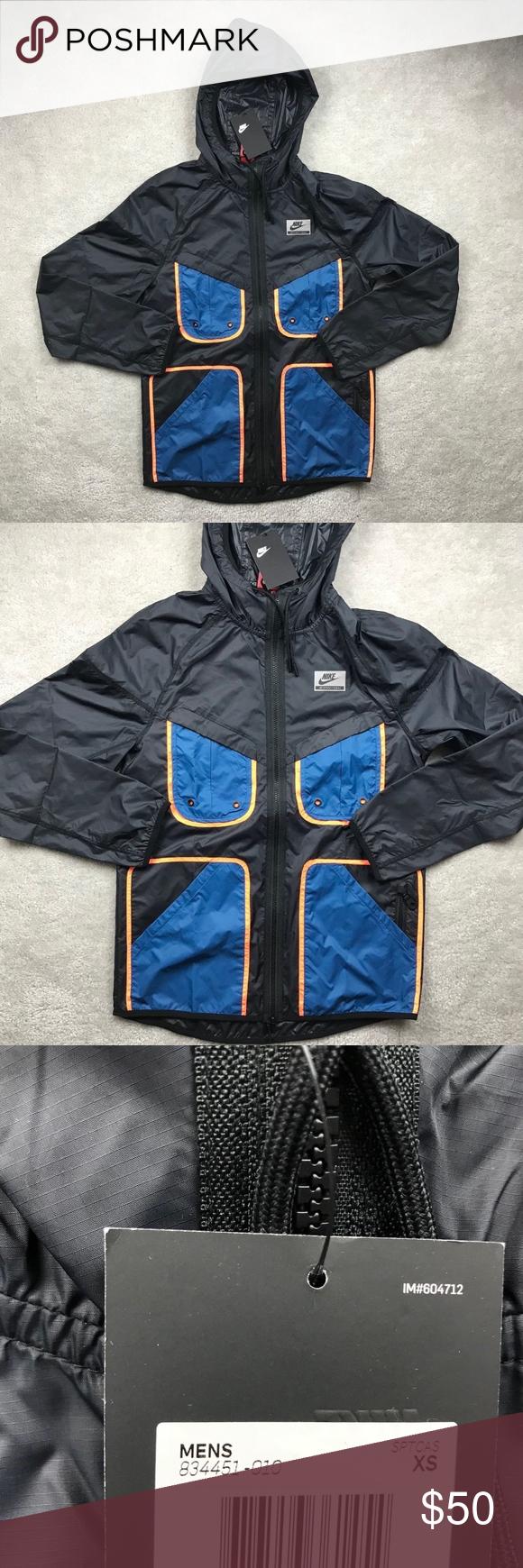 d83407177cd71e Nike International Windrunner Jacket Black Blue Nike International  Windrunner Jacket Black Blue Orange Men s XS-