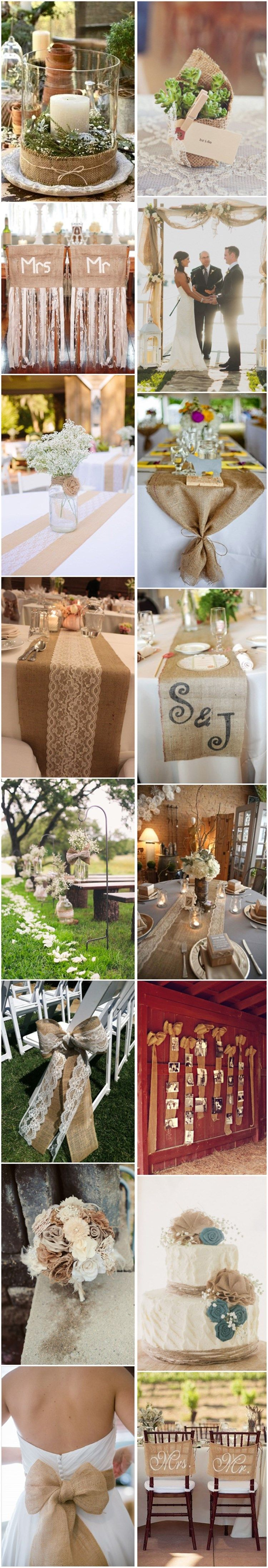 Wedding ideas rustic theme   ChicRustic Burlap and Lace Wedding Ideas  Lace weddings Burlap