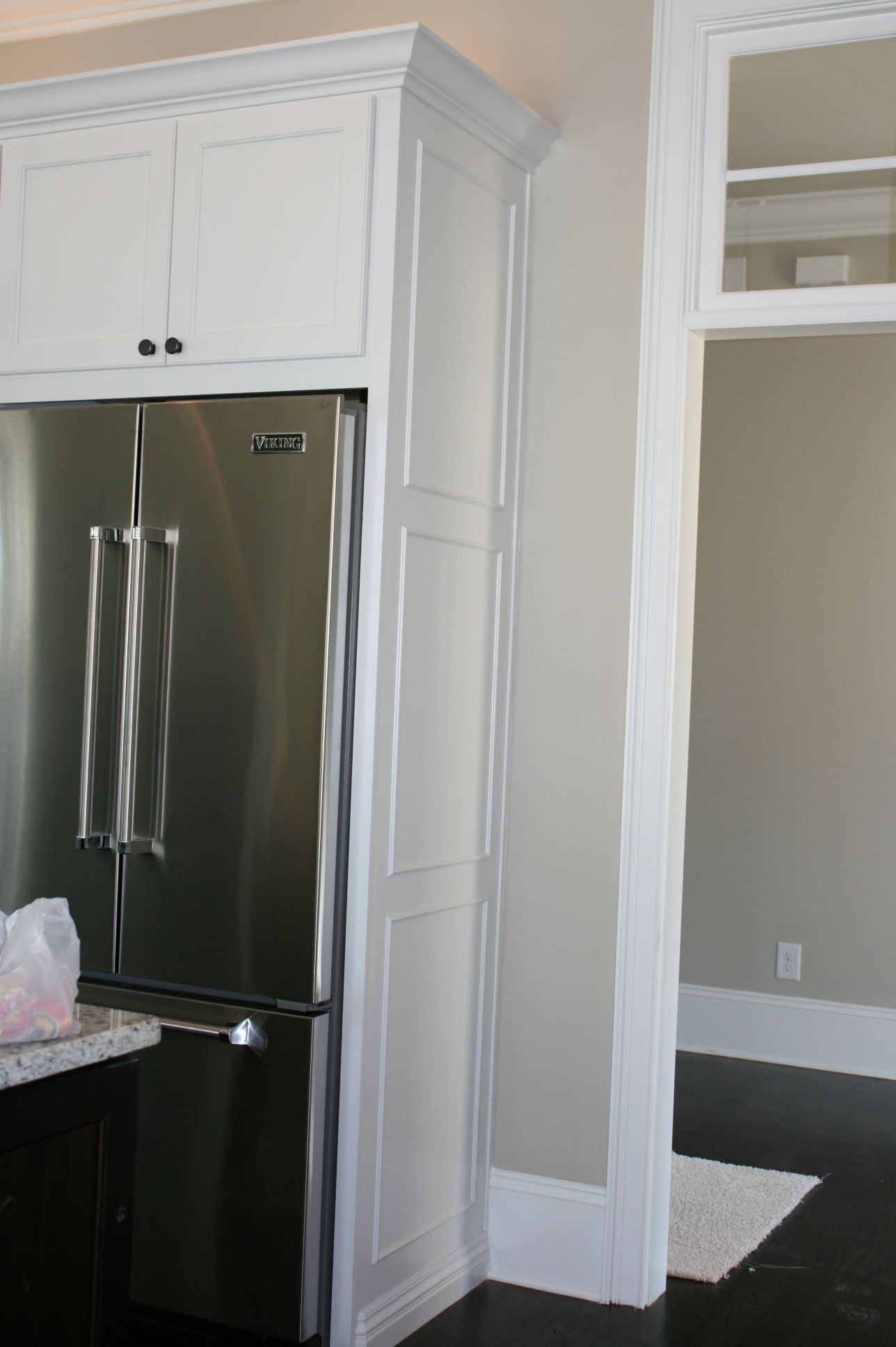 We finished the end of the refrigerator panel by adding a ...