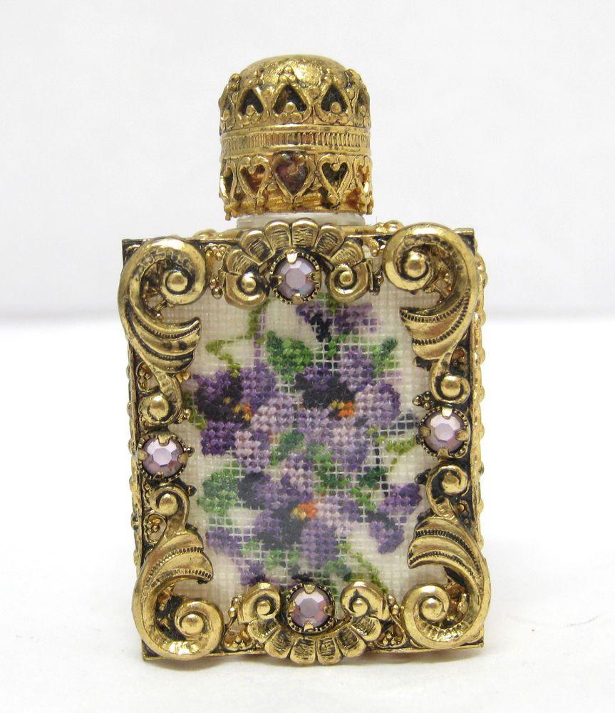 Vintage Gold Tone & Glass Mini Perfume Bottle Purple Green Needlepoint Design
