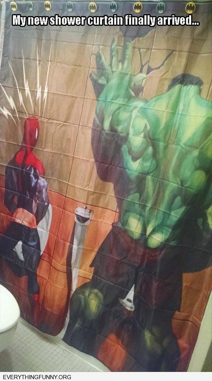 Funny Marvel Shower Curtain Hulk Spiderman Peeing On Wall