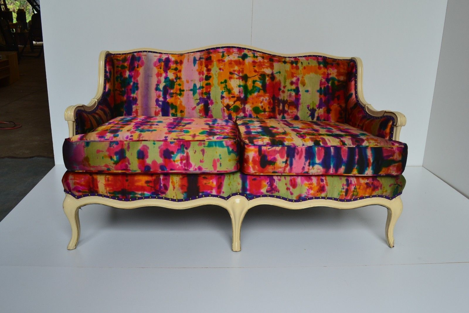 Ebay Sofa Pink Vintage Settee Upholstered In Hand Painted Ralph Lauren Duchess