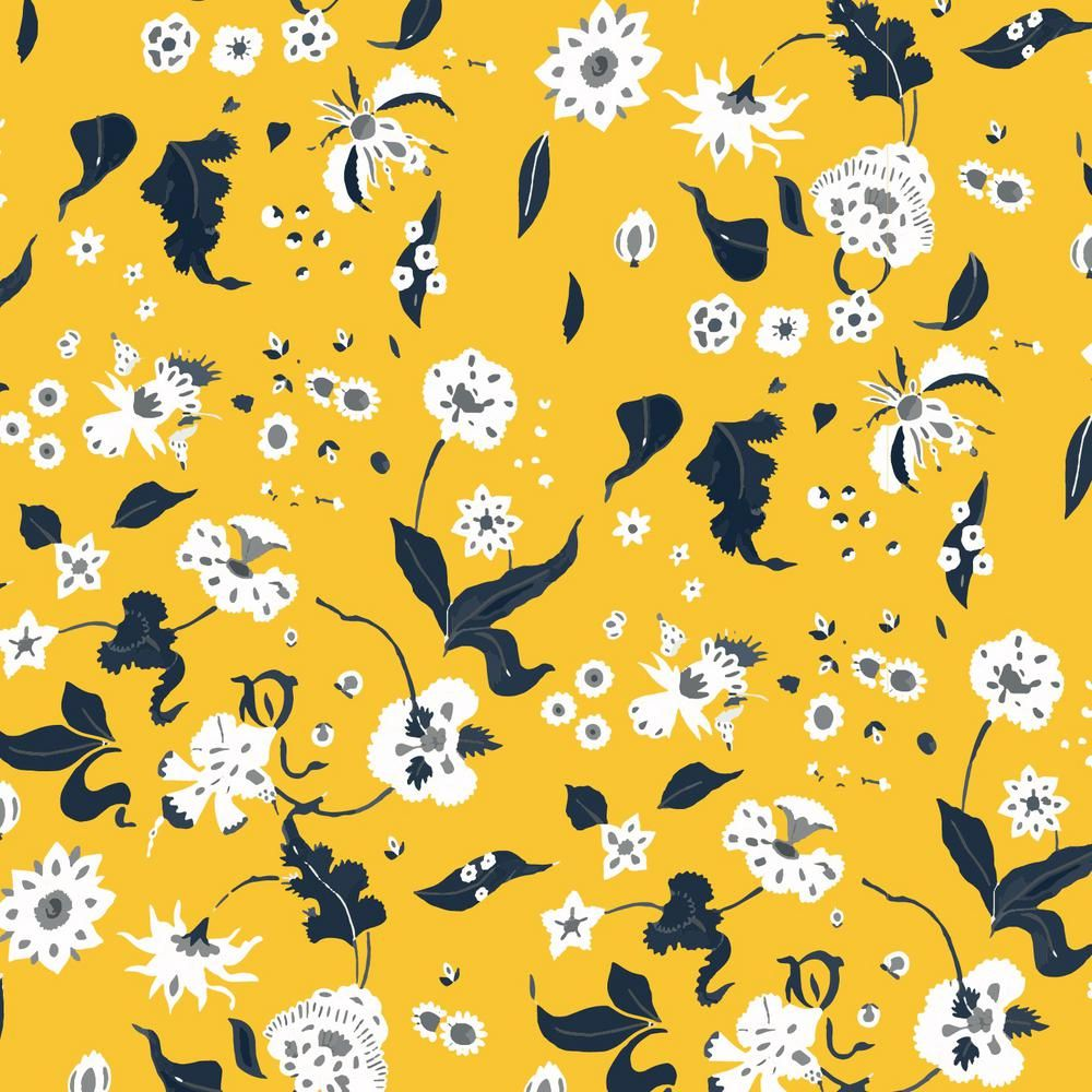 Mitchell Black Nomad Collection Floral Bliss In Saffron Removable And Repositionable Wallpaper Black Floral Wallpaper Peelable Wallpaper Wallpaper
