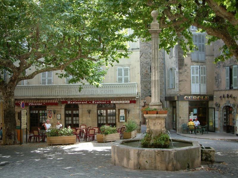Bargemon Place Ombragee Avec Fontaine Platanes Arbres Terrasses De Cafes Et Maisons Du Village France Voyag Voyage En France La Provence France Vacances