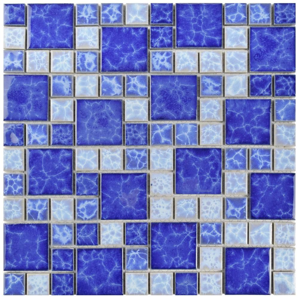 Merola Tile Watersplash Versailles Adriatic 11 3 4 In X 11 3 4 In X 6 Mm Porcelain Mosaic Tile Multicolored Blue High Sheen Mosaic Tiles Mosaic Glass Flooring