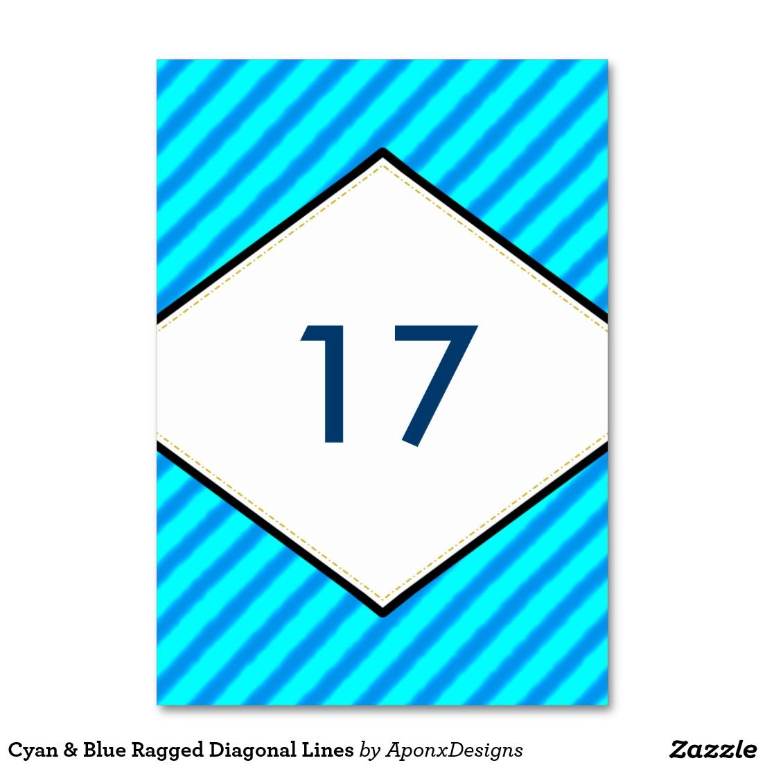 Cyan & Blue Ragged Diagonal Lines Table Number Card Design