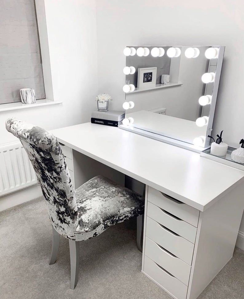 Vanity Mirror With Lights Luxury Etsy Mirrored Desk White
