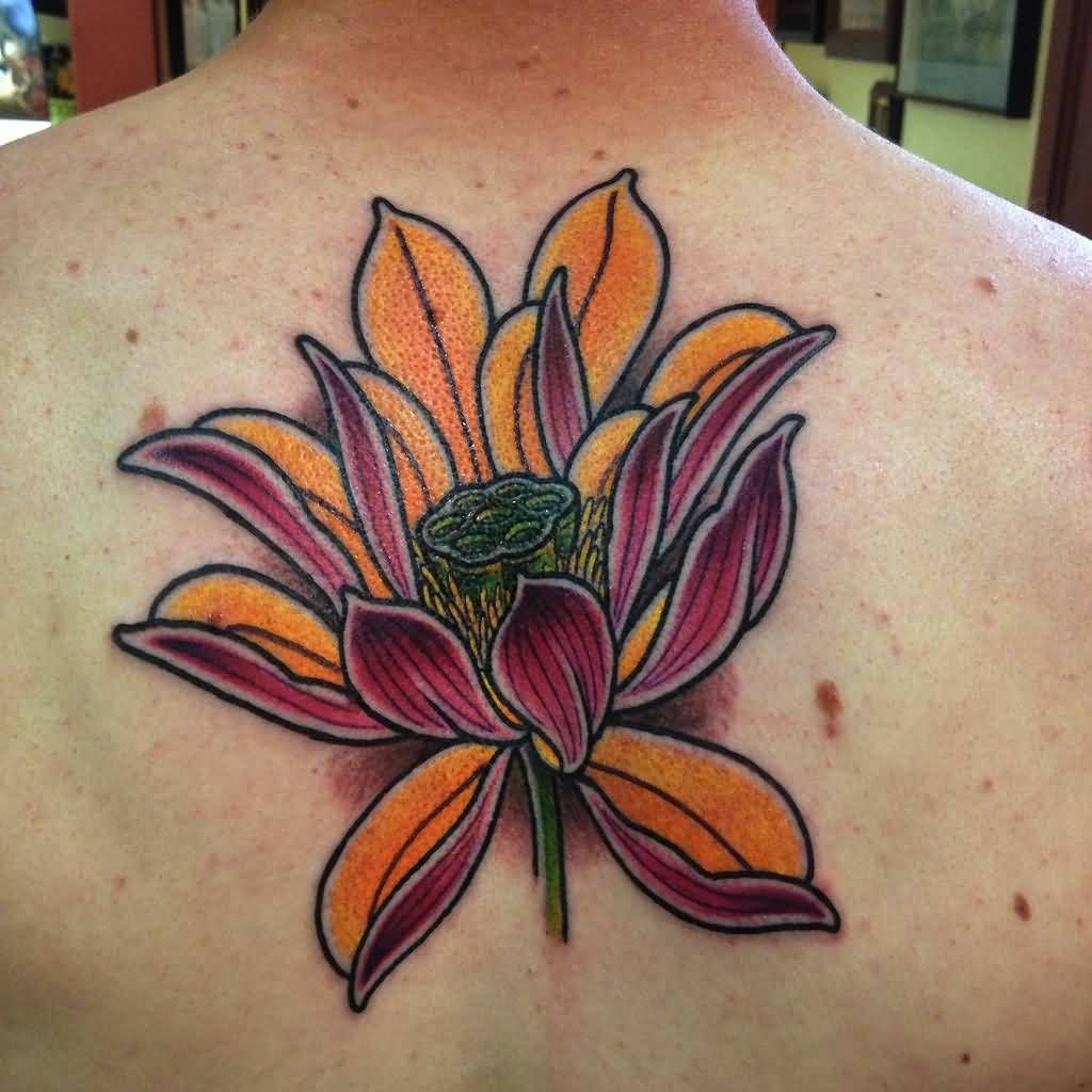 Cool Japanese Lotus Flower Tattoo On Man Upper Back Beaverrrrrrr