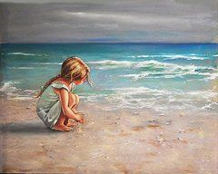 little girl on beach painting - Google Search