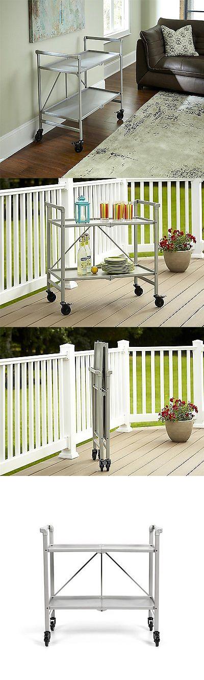 Bar Carts And Serving Carts 183320: Serving Cart Patio Folding Rolling Bar  Portable Tray Kitchen