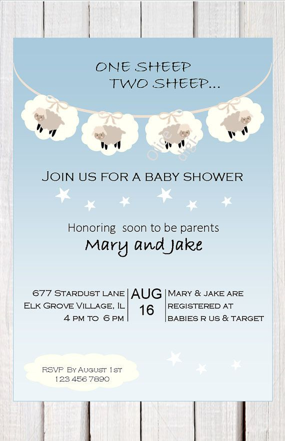 Lamb baby shower invitation, baby sheep baby shower, clouds and ...