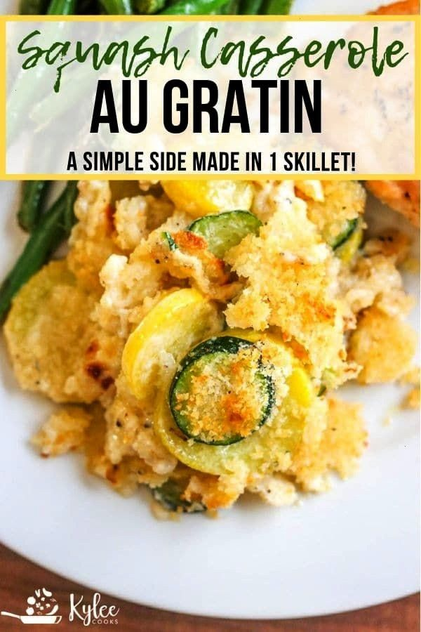 very easy side, this Squash Casserole (au Gratin style) comes together quickly while you cook other