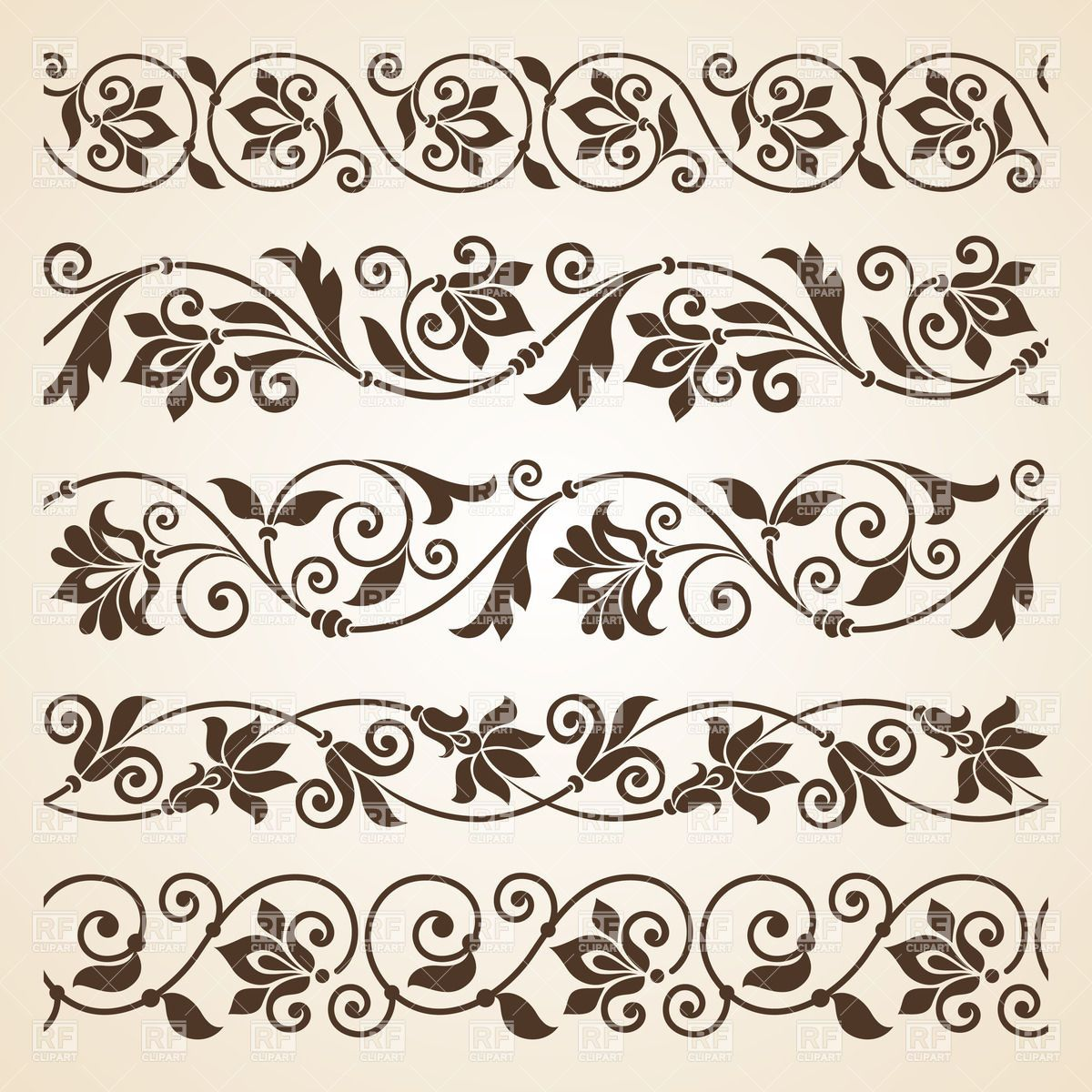 Set Of Five Curly Vintage Floral Borders Download
