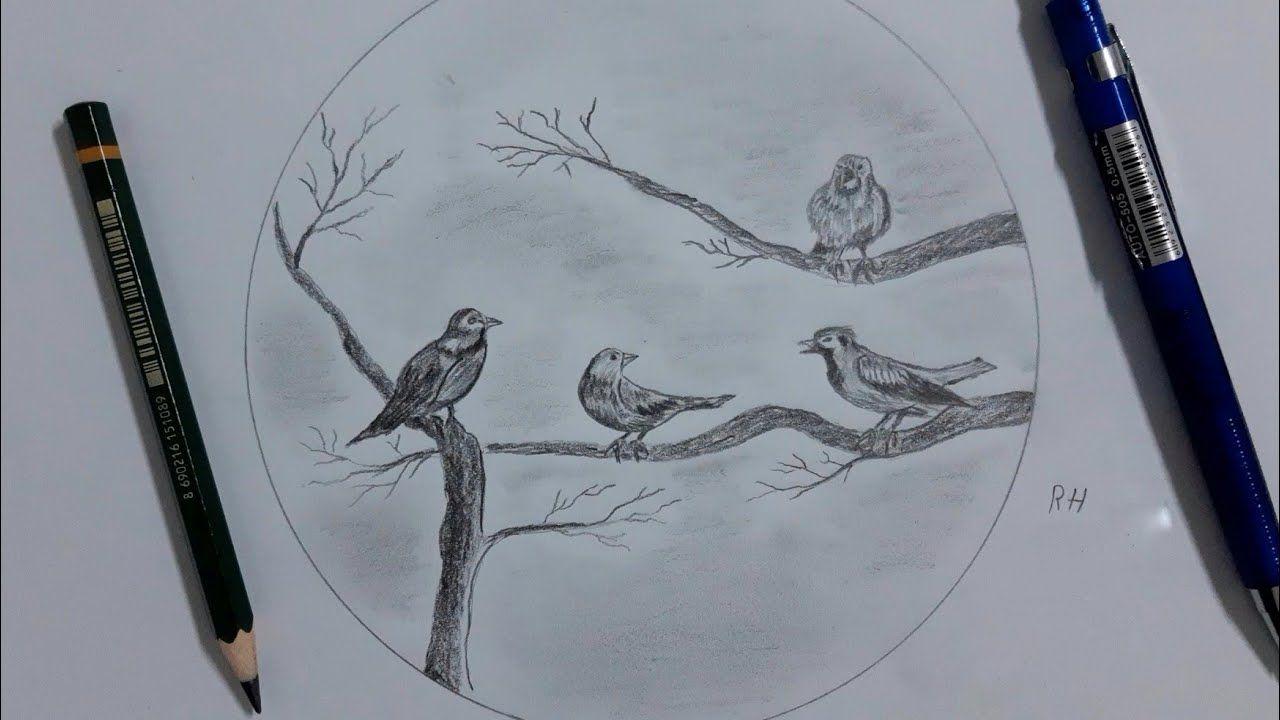 رسم عصفور مجموعة عصافير على غصن شجرة Bir Kus Cizin Drawing A Bird A Group Of Birds On A Tree Branch Youtube Art Humanoid Sketch