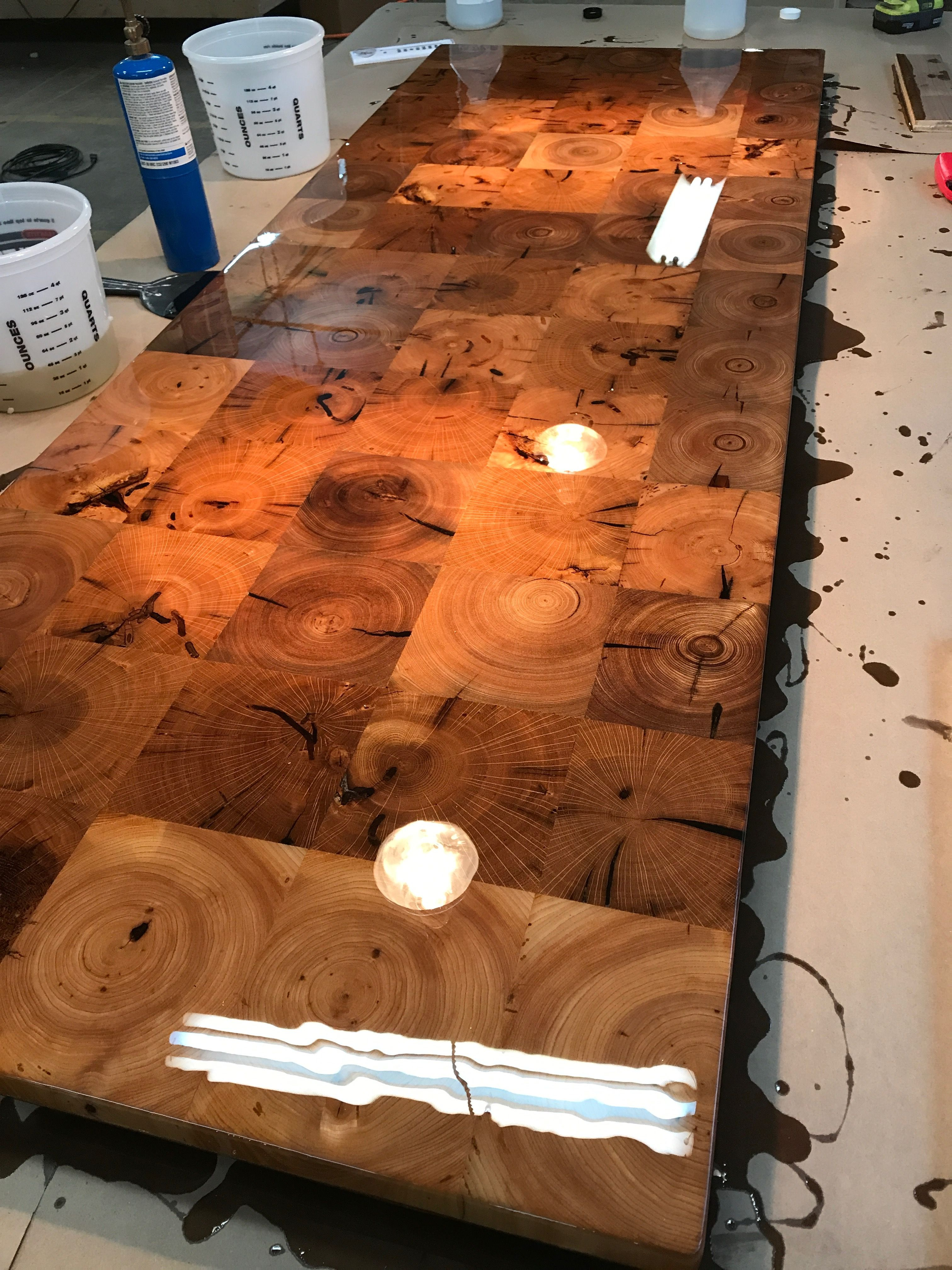 Reclaimed End Grain Barn Beam Countertop, Island Top, Tabletop from ...
