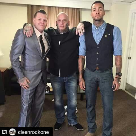 Season 7 INK MASTER finalists backstage before the show. Cleen Rock One, Christian, and Anthony.