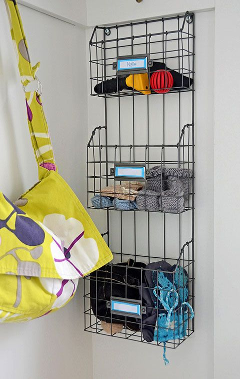 Wire bins for storing hats, gloves, sunscreen, etc