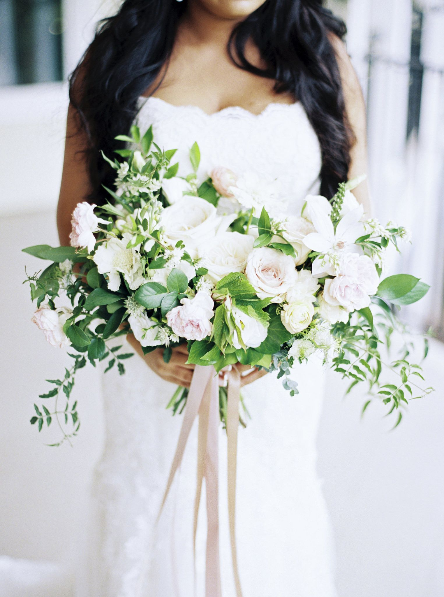 Main bridal bouquet inspiration! I love the floral varieties, delicate greens and palette - however I would like it to be slightly more round than oval in shape.
