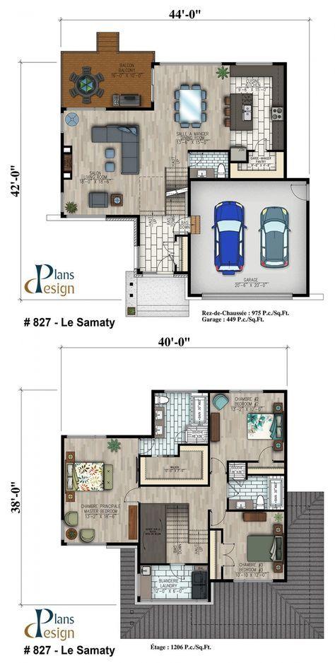 827 - Le Samaty Cottage Plans Design Planta de casa Pinterest