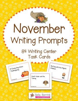 84 November Writing Prompts Task Cards - Themes include: Football, Turkeys, Thanksgiving and the First Thanksgiving - Great variety of topics and writing prompts to use all month!