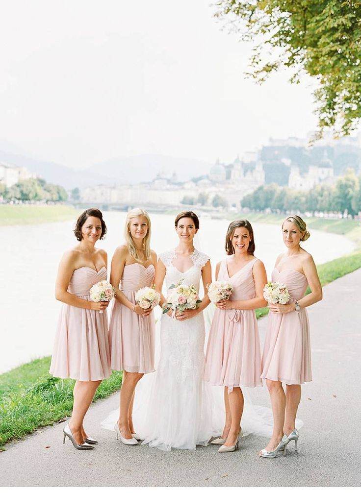 These short, mix-and-match, blush bridesmaid dresses are perfect for ...