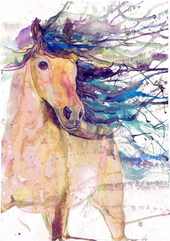 Pferd Kunst Reit Dekor Aquarell Fohlen Hengstfohlen