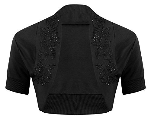 a2e3c5f1676c3 Plus Size Beaded Shrug Embellished Bolero Crop Top Open Cardigan Short  Sleeve *** Click image to review more details.