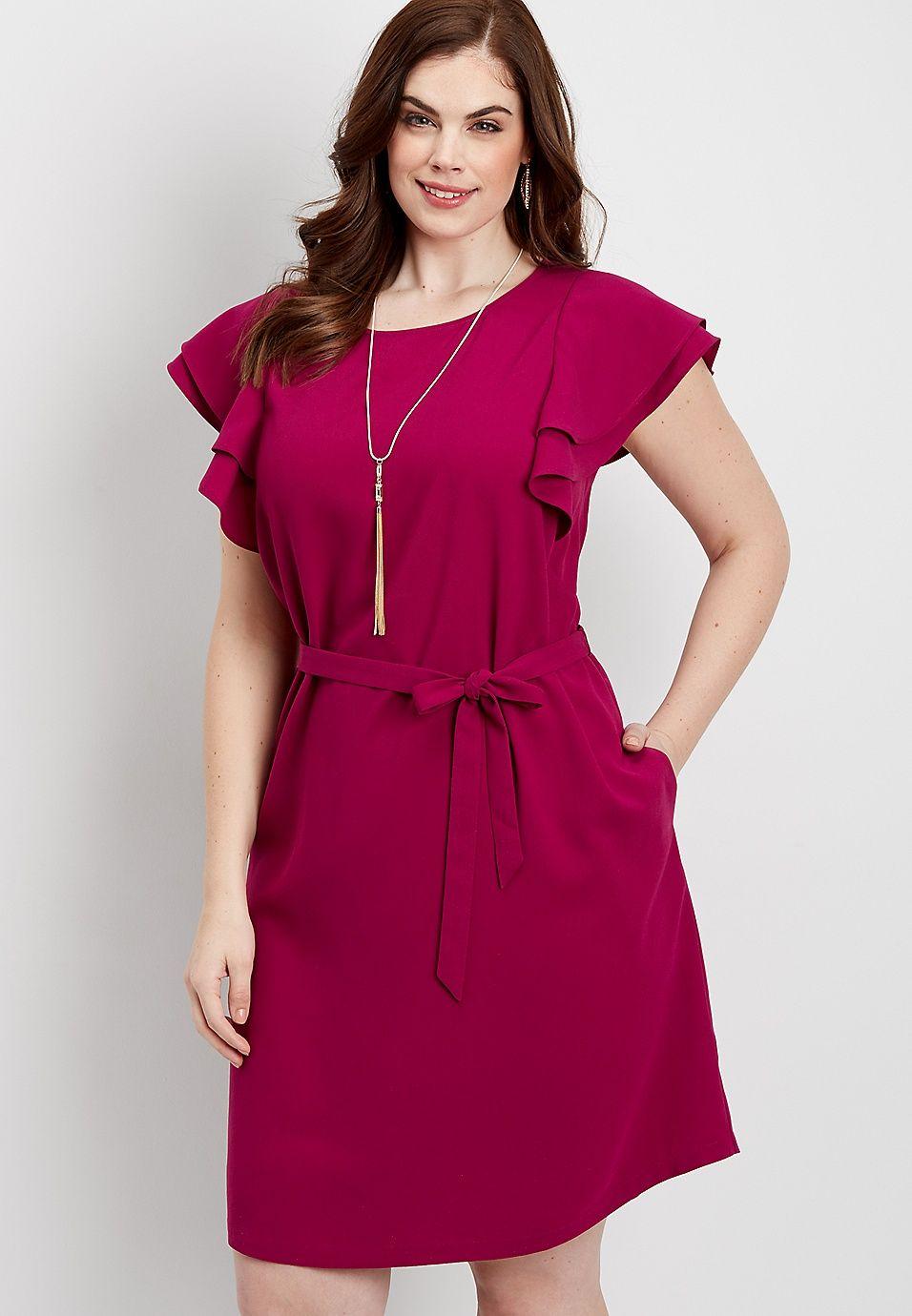 plus size ruffled sleeve tie waist dress maurices