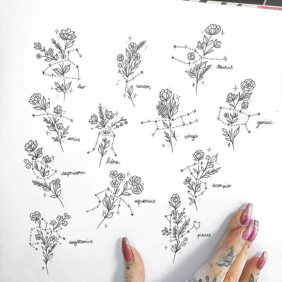 "Jay️ on Instagram: ""Zodiac constellation flash �� UPDATE : I am no longer tattooing these exact designs but happy to re draw constellations with new flowers.…"""