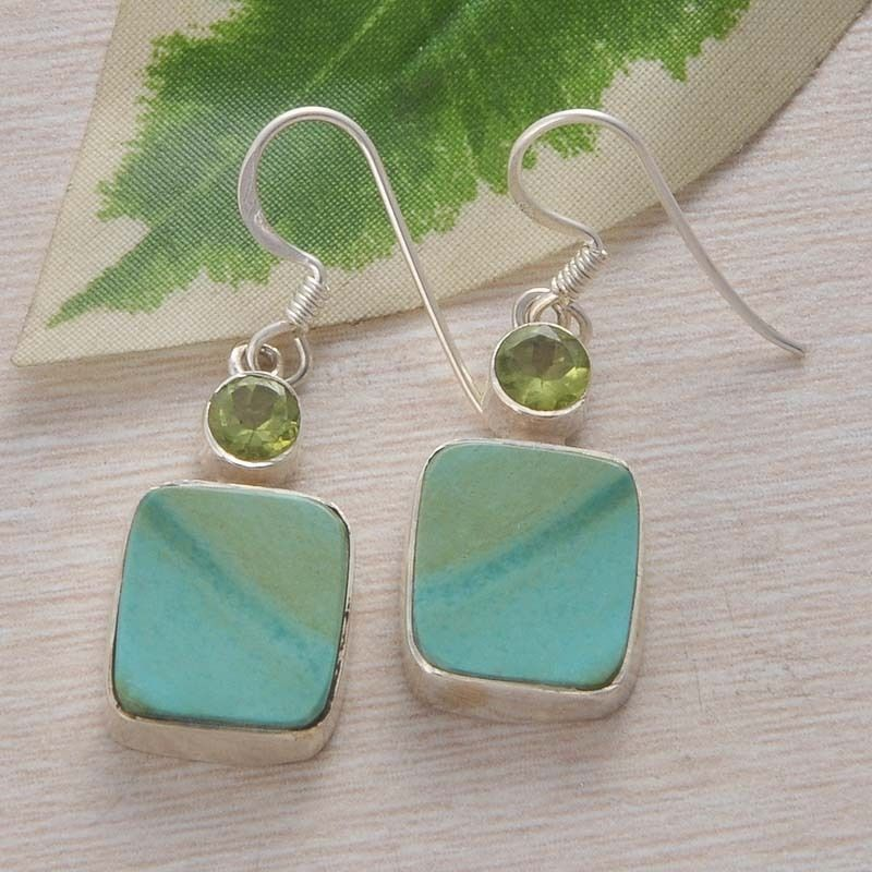 NEW STYLISH 925 SOLID STERLING SILVER TURQUOISE EARRING 5.73g DJER1515 #Handmade #EARRING