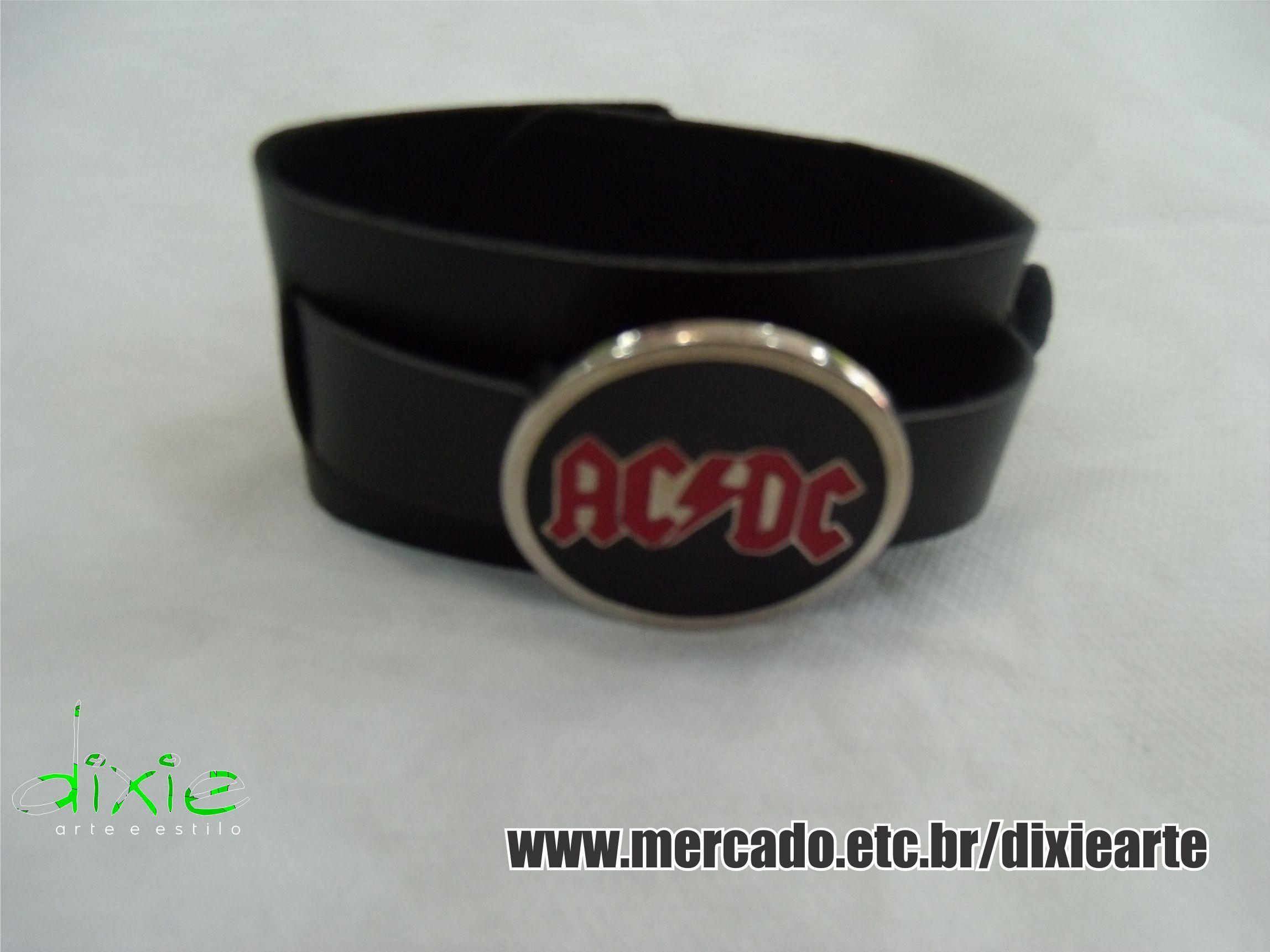 Bracelete AC/DC  www.elo7.com.br/dixiearte