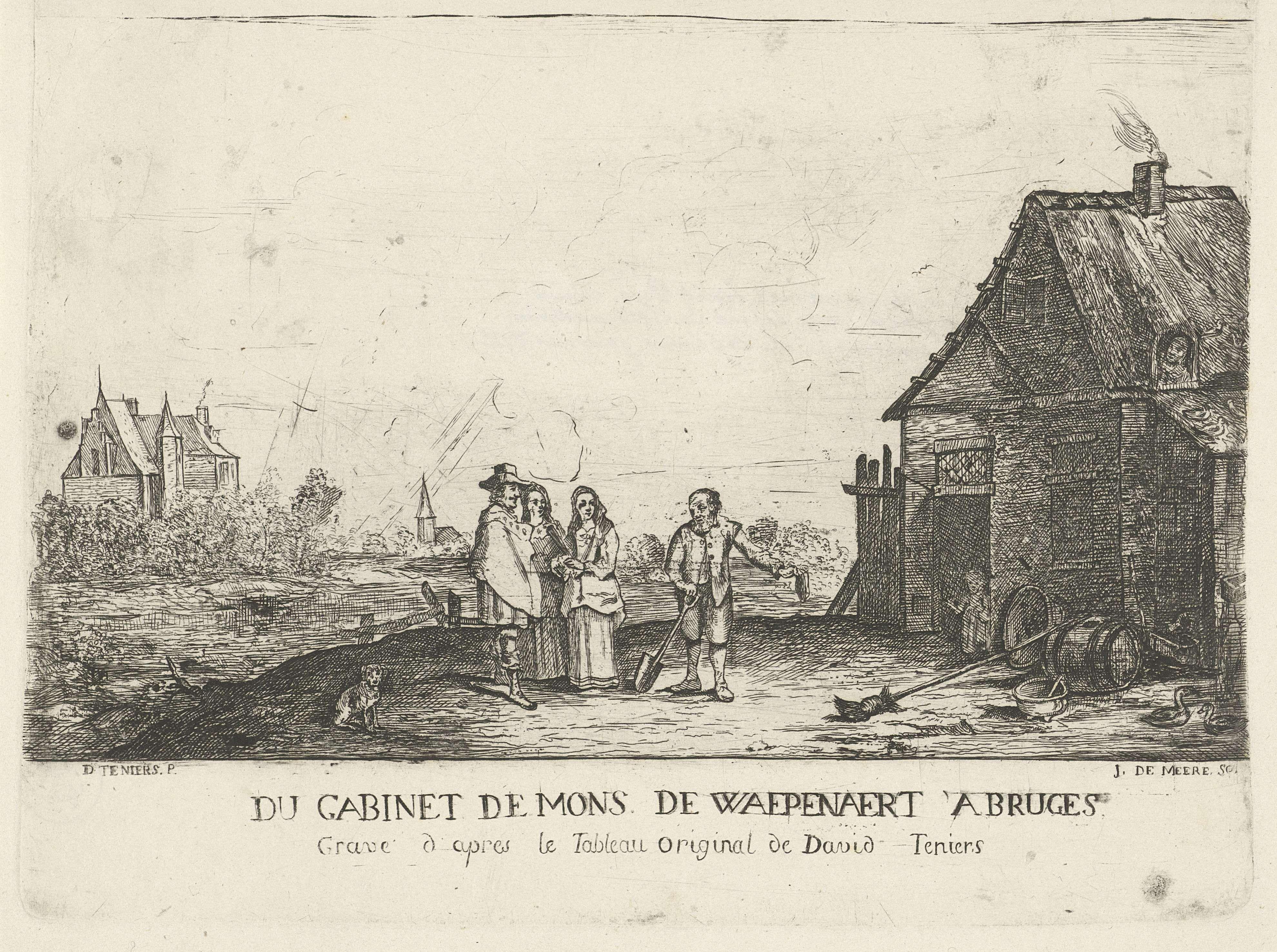 Jozef de Meere | Wandelaars bij een boer voor zijn boerderij, Jozef de Meere, 1799 | Een rijk geklede man en twee vrouwen spreken met een boer, die zijn muts heeft afgenomen en op zijn huis wijst. In de deuropening staat een kind en de boerin kijkt vanuit het dakraam. Aan de horizon een kasteel en een kerk.