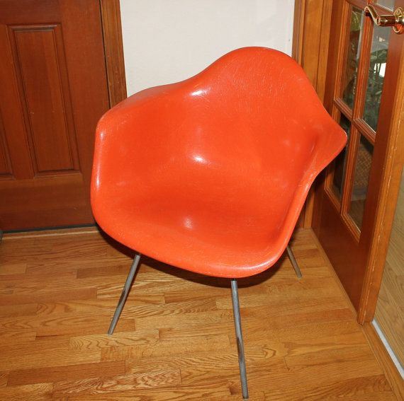 Herman Miller Chair Vintage Orange Fiberglass Shell Eames Era