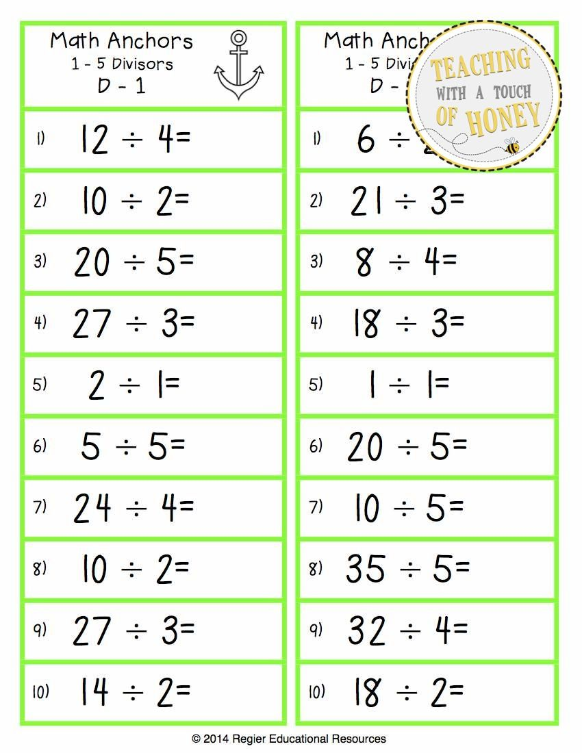 Build Multiplication And Division Fluency With Math Anchors The Multiplication And Division Anchor Cards Are Divided In Math Facts Basic Math Math Division [ 1100 x 850 Pixel ]