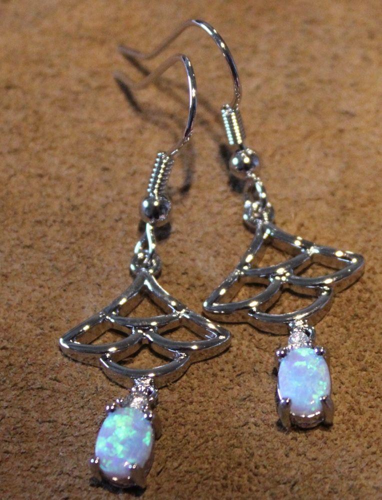 fire opal earrings Gemstone silver jewelry chic unique drop/dangle style F01Z #DropDangle