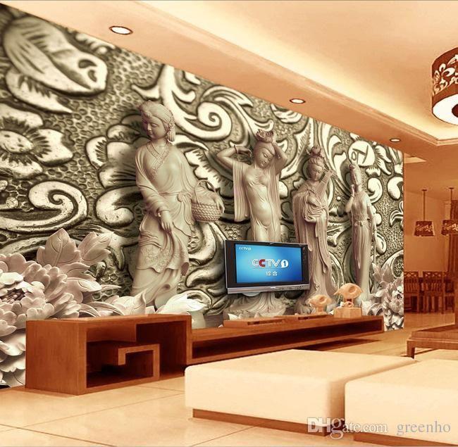 Brilliant 3D Woodcut Four Great Beauties Photo Wallpaper ...