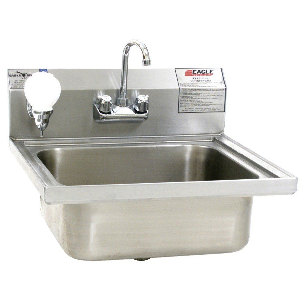 Eagle Group W1916fa Stainless Steel Wall Mount Sink Steel Wall