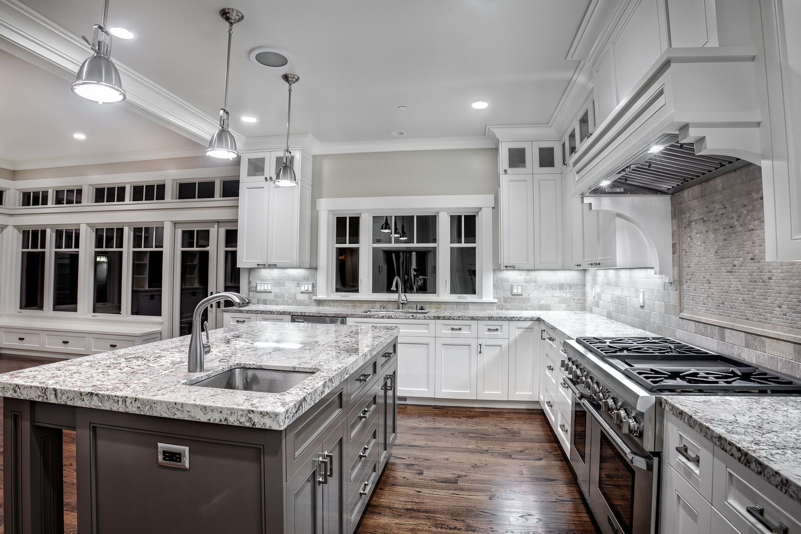 Gray Kitchen White with Granite Countertops