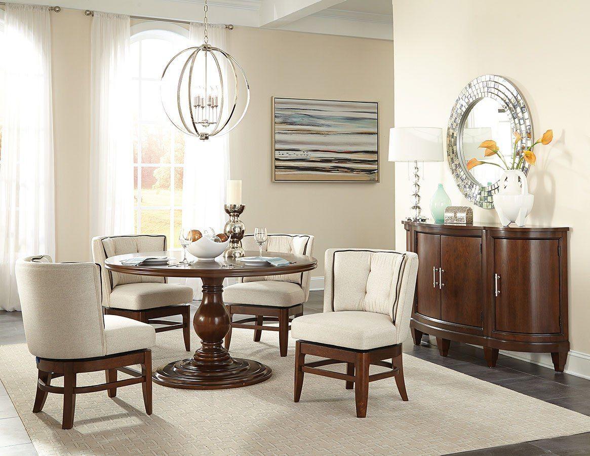Oratorio Round Dining Room Set W Swivel Chairs Round Dining