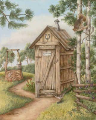 Cypress Fine Art Licensing Bathtime Outhouse Decor