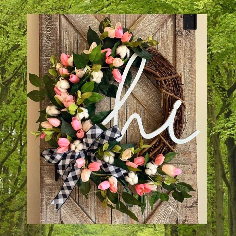 Photo of Spring Wreath for Front Door, Buffalo Check Decor, Cotton Front Door Wreath, Tulip Wreath for Front Door, Spring Decorations, Easter Wreath