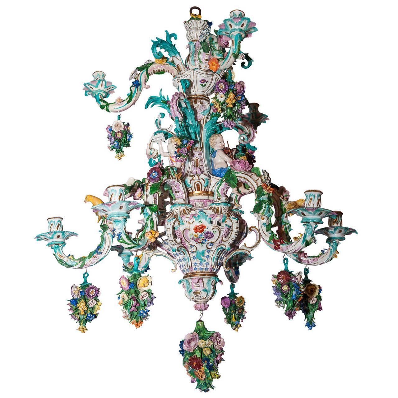 Two tier meissen porcelain chandelier with birds and flower two tier meissen porcelain chandelier with birds and flower decorations arubaitofo Images