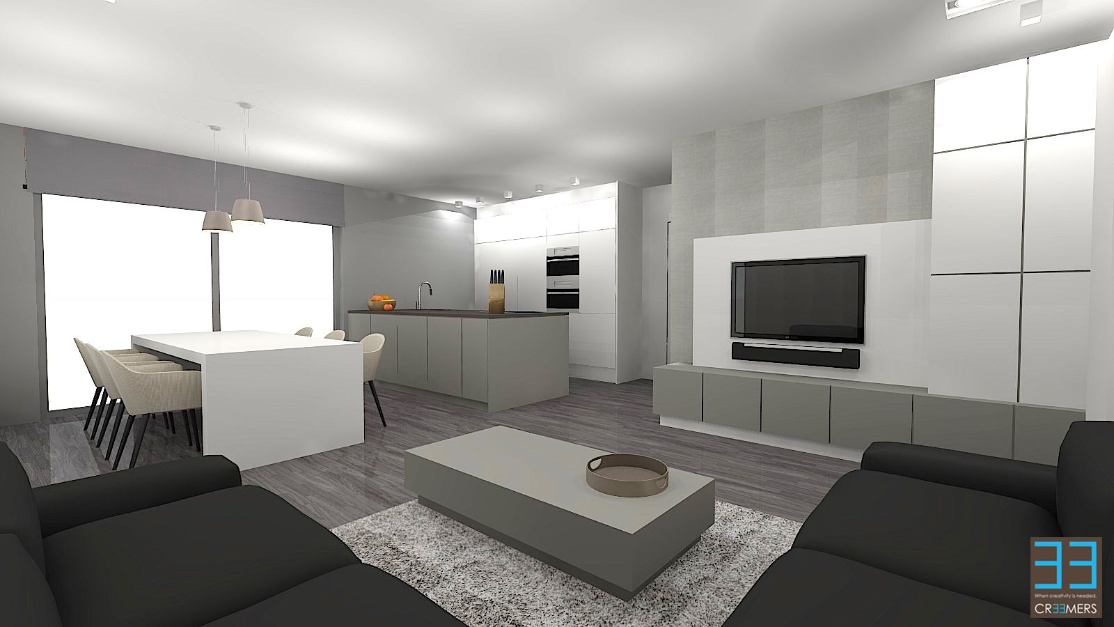 Modern interior renovation project with grey green and soft colors