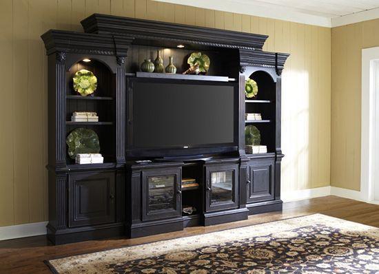 Parkridge Media Rooms Havertys Furniture 119 W X 21 D X 90 H Entertainment Wall Entertainment Center Built In Bookcase