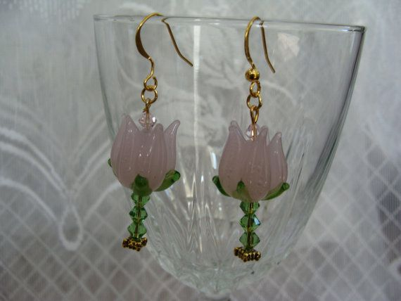 Pink Lampwork Glass Tulip Earring with Green Crystal Stem and Pink Swarovski Center with French Hook Earwire