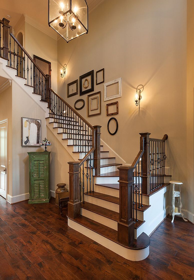 Marvelous Decorate The Staircase Wall With Some Empty Picture Frames Awesome Ideas