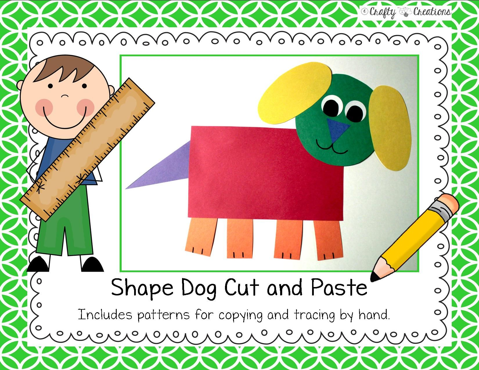 Shape Dog Cut And Paste That Includes Patterns For Copying