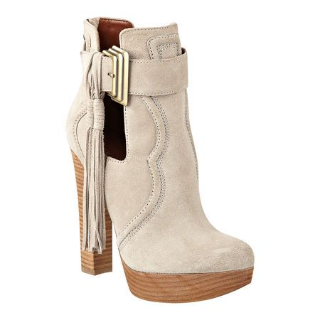 """Almond toe platform bootie.  Back zipper closure.  Fringe and buckle accent.  Stacked 5 1/4"""" heel and 1"""" platform.  Leather upper."""